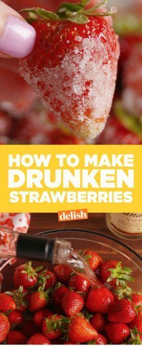 Drunken Strawberries = instant happiness. Get the recipe from Delish.com.