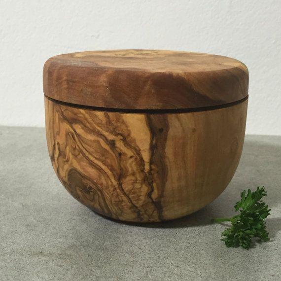 Rustic Cellar Olive Wood Box Salt Cellar Wooden Pot