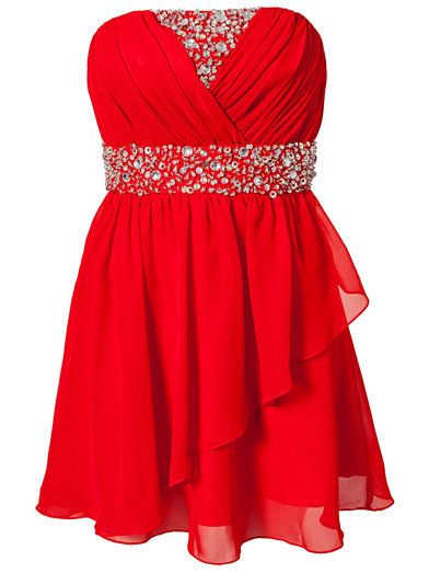 Strapless beaded Short Red Prom Dress #ShopSimple | Dressilyme: Prom ...