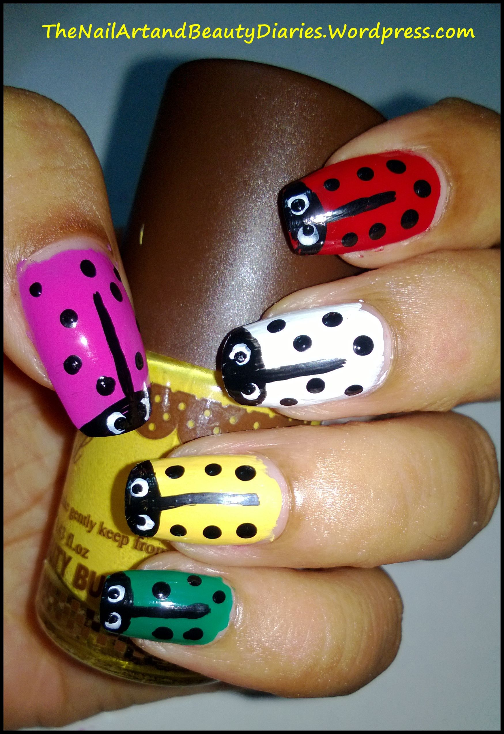 Colorful Lady Bug Nail Art