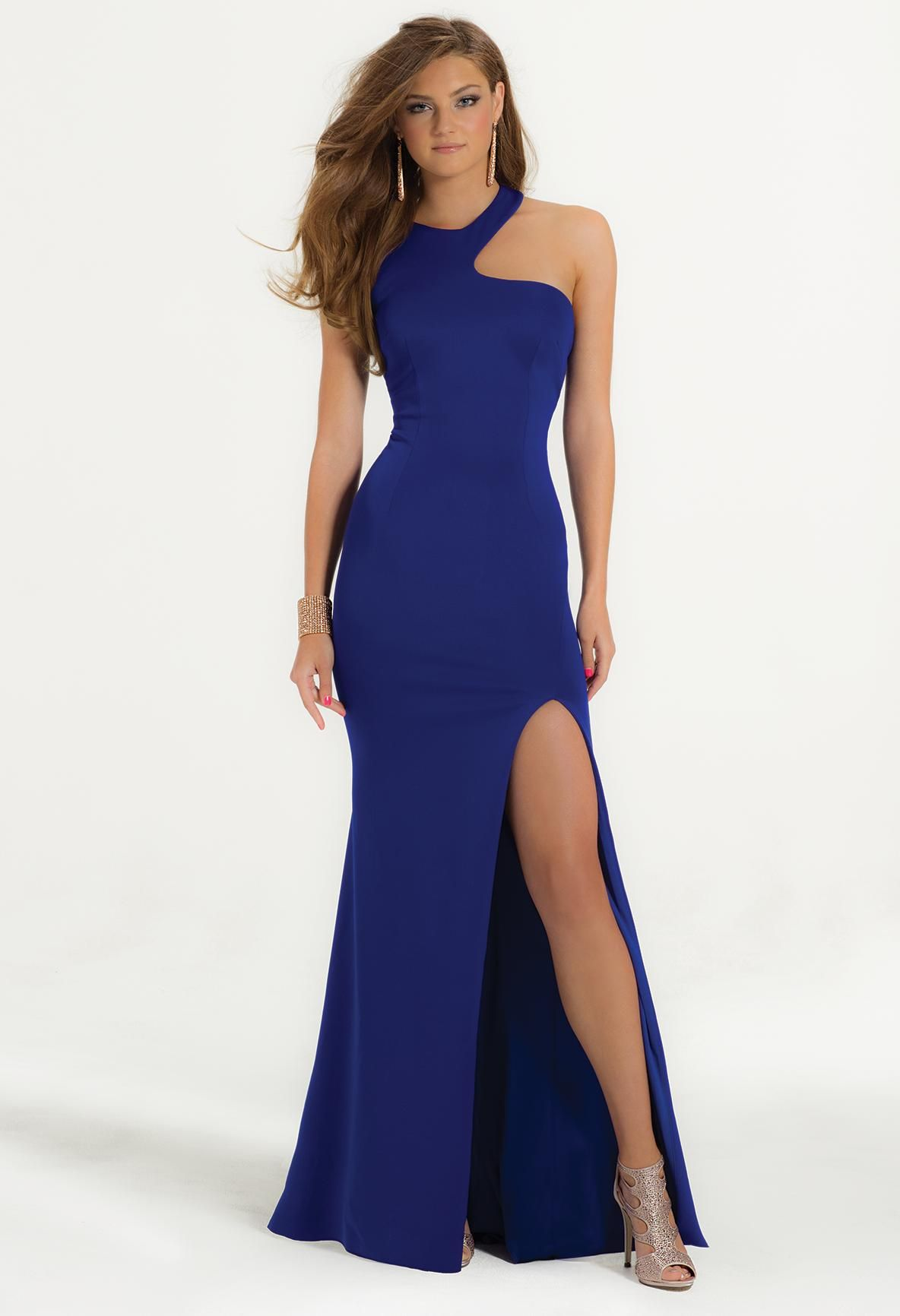 Asymetrical neckline and high slit Prom Dress  #camillelavie #CLVprom