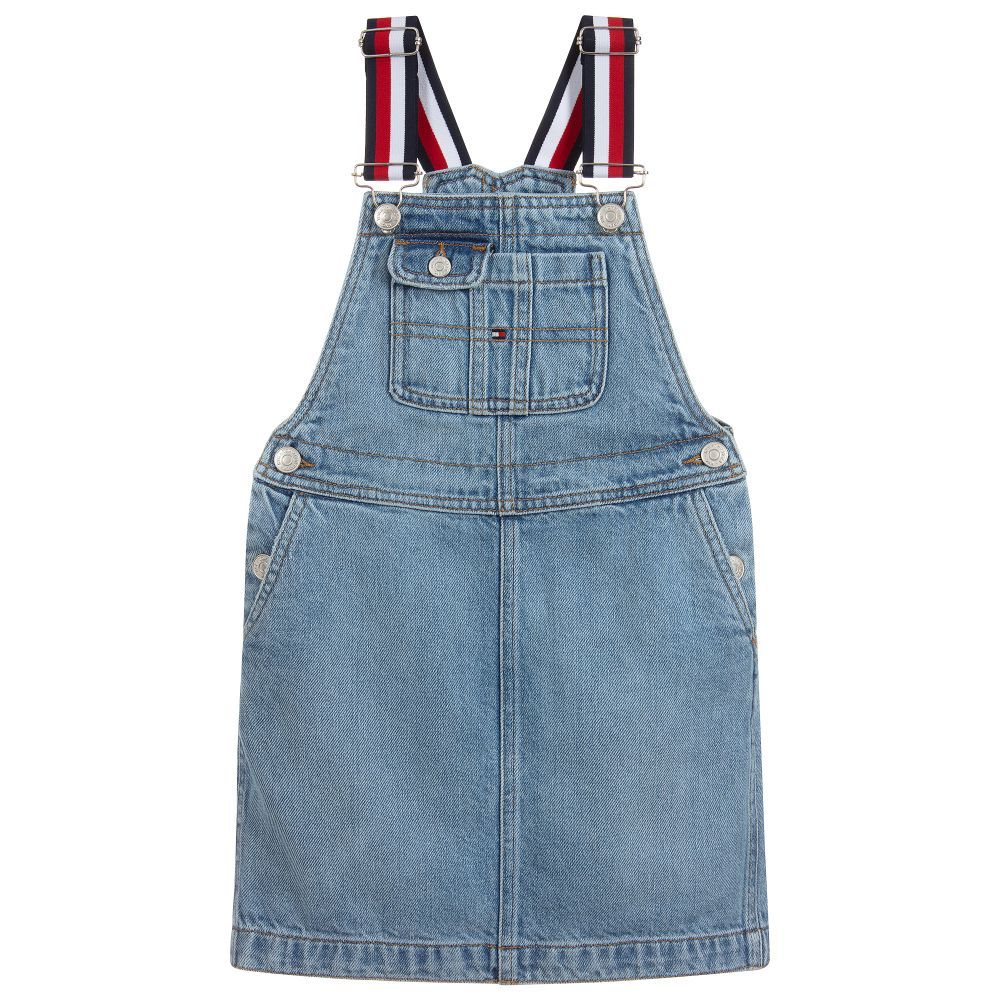 get online big sale shop best sellers Girls stone wash pinafore dress by Tommy Hilfiger, made in soft ...