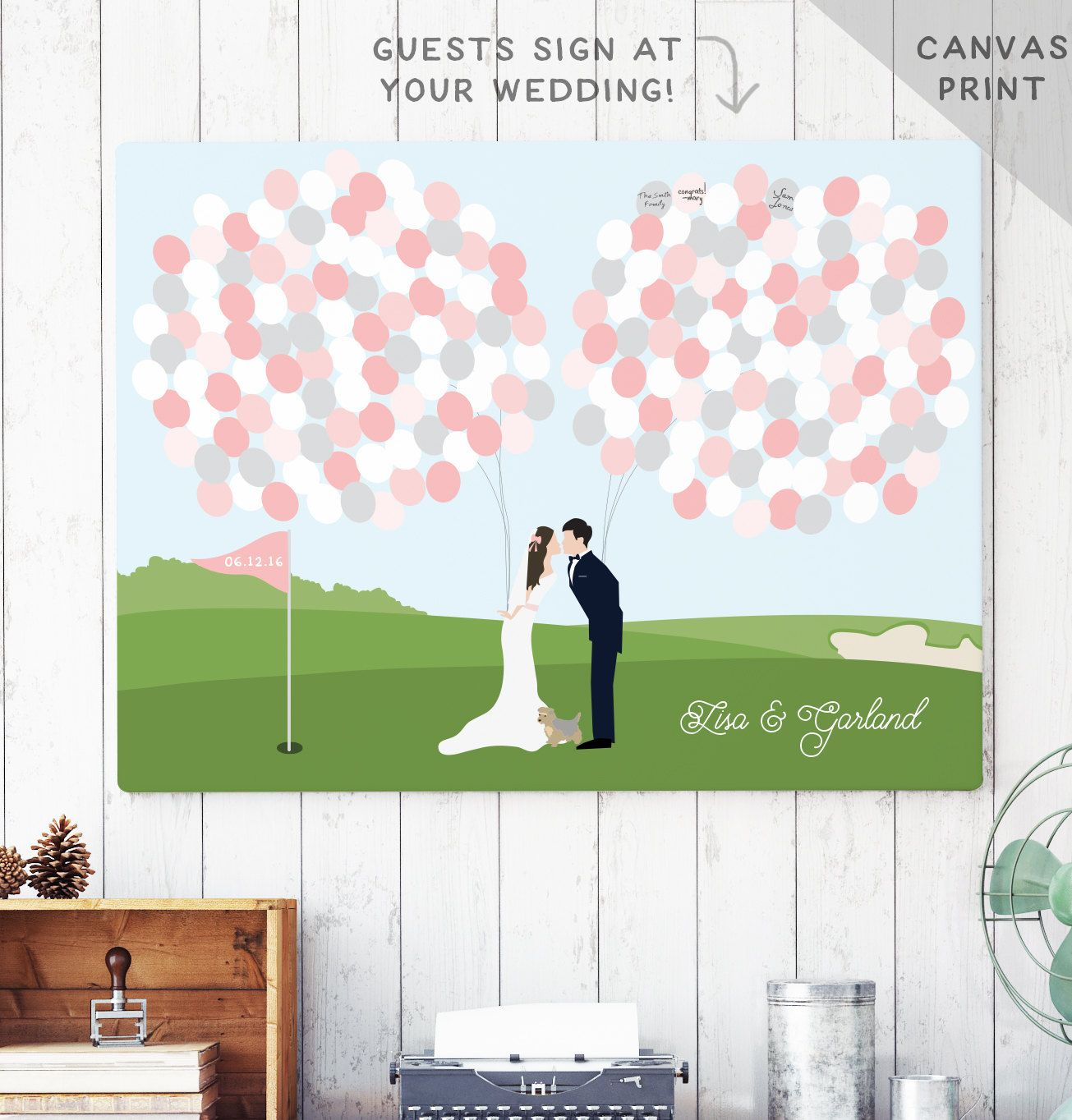 Golf Course Wedding Ideas: Canvas Guest Book Alternative