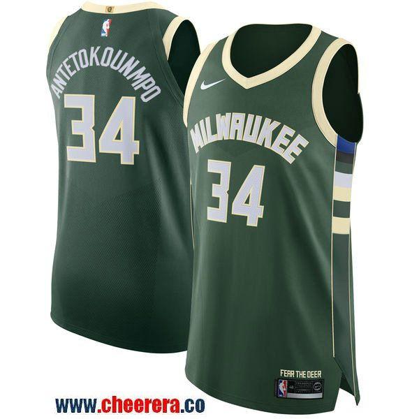 Men s Nike Milwaukee Bucks  34 Giannis Antetokounmpo Green NBA Authentic  Icon Edition Jersey 78626f561