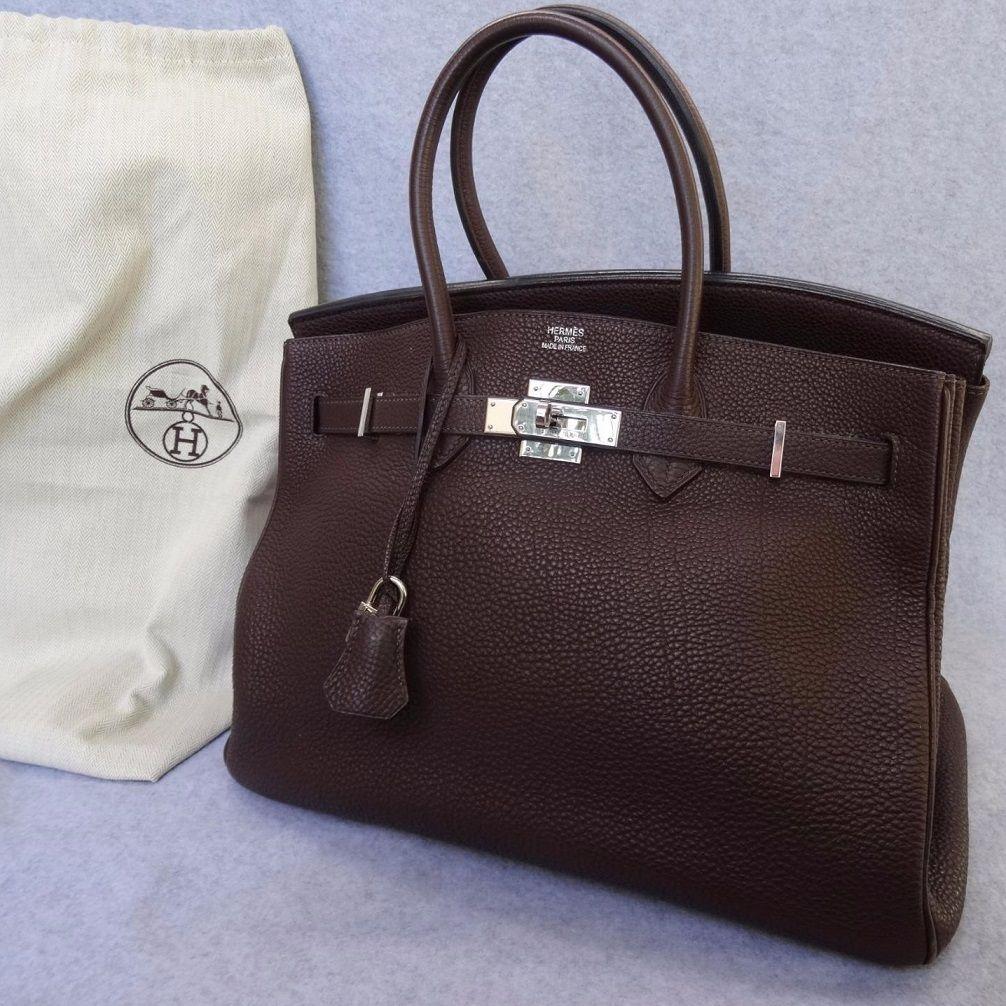 Vintage HERMES BIRKIN Chocolate Brown 2007 Clemence 35cm Handbag in ... f2f583792c9b7