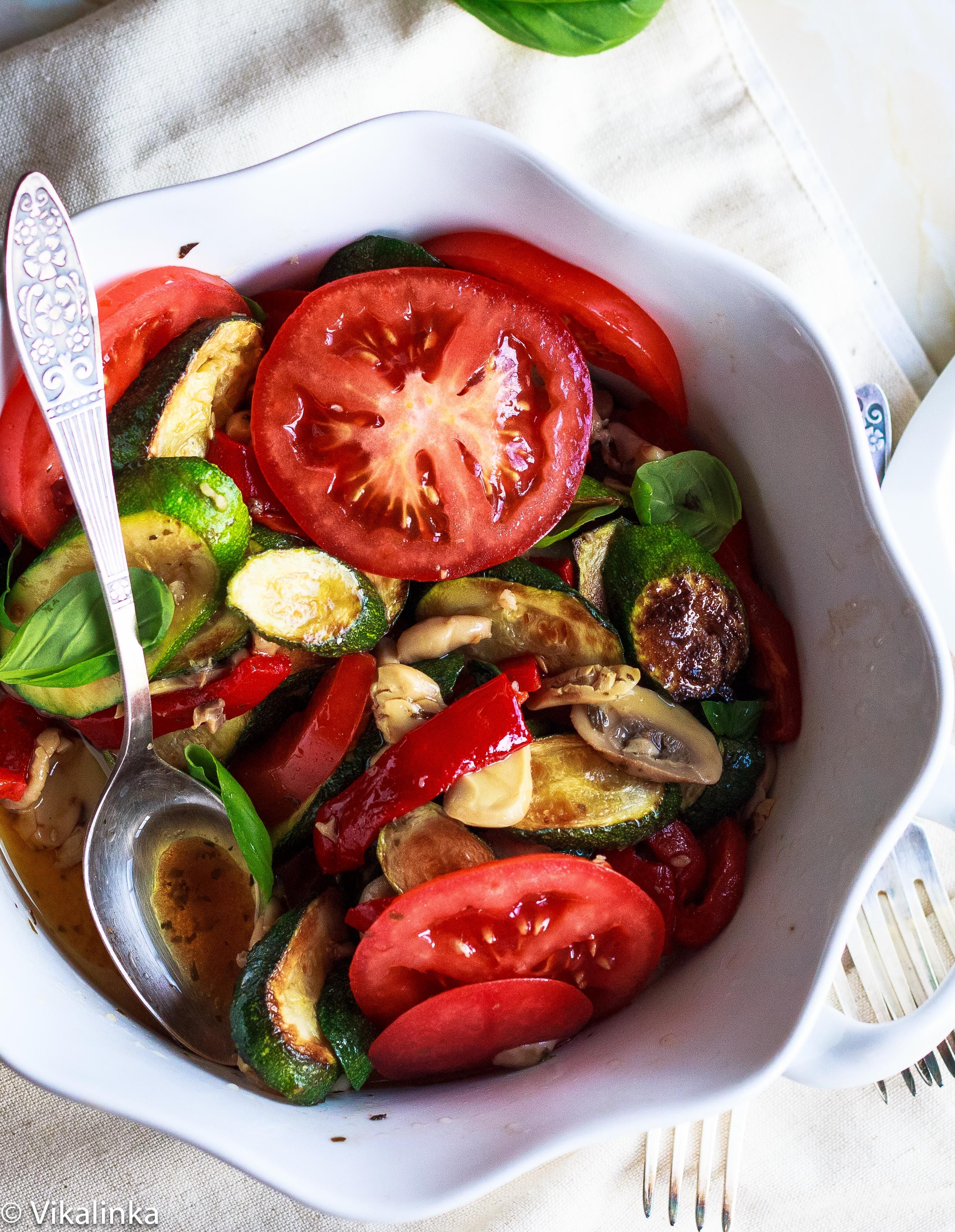 Warm Zucchini Salad with Balsamic and Basil Vinaigrette. . This salad is perfect for cold winter months and a welcome break from the usual tossed lettuce.