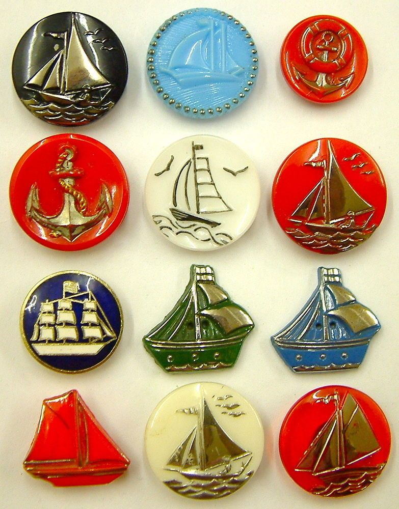 Nautical Buttons in Glass and Enamel.