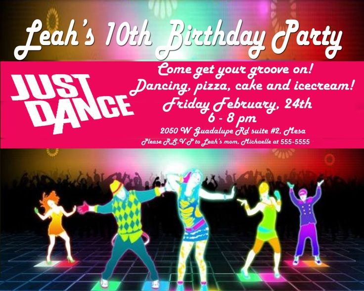 Just Dance Party Invitation Top Party Themes Pinterest – Dance Party Invites
