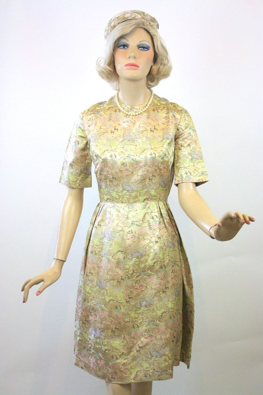 Vintage 60s Cocktail Dress Champagne Satin Brocade Oriental Print ...