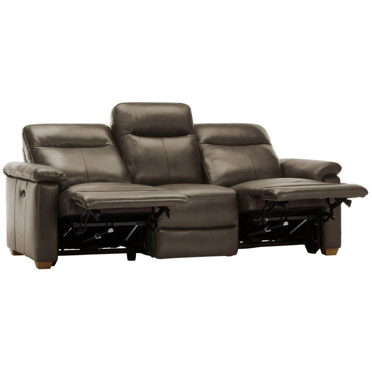 Malmo 3 Seater Sofa with 2 Electric Recliners - 2 Tone Brown ...