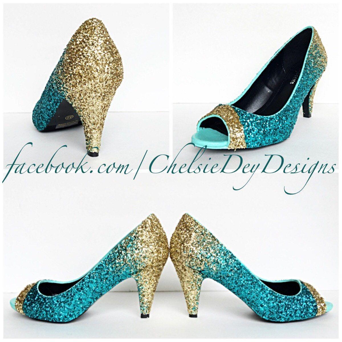 Glitter High Heels Teal Turquoise Aqua Blue Gold Ombre