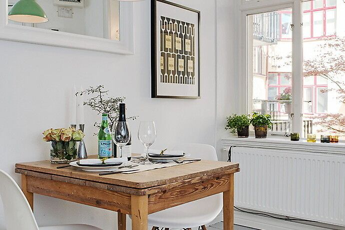 Charming Little Dining Area For Two Scandinavian Studio Apartment Inspiring A Cozy Inviting Ambiance