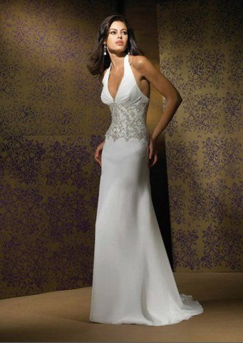 Designer Chapel Train Halter Top Lace Wedding Dress Low Cost Simple