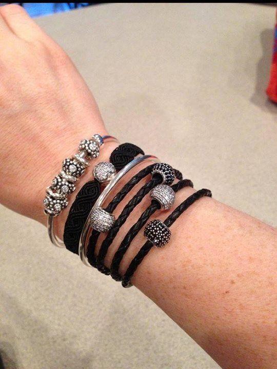c3e634034 PANDORA Bracelet Stack. Leather, Silver and Macrame Bracelets with Pave  Charms :-)