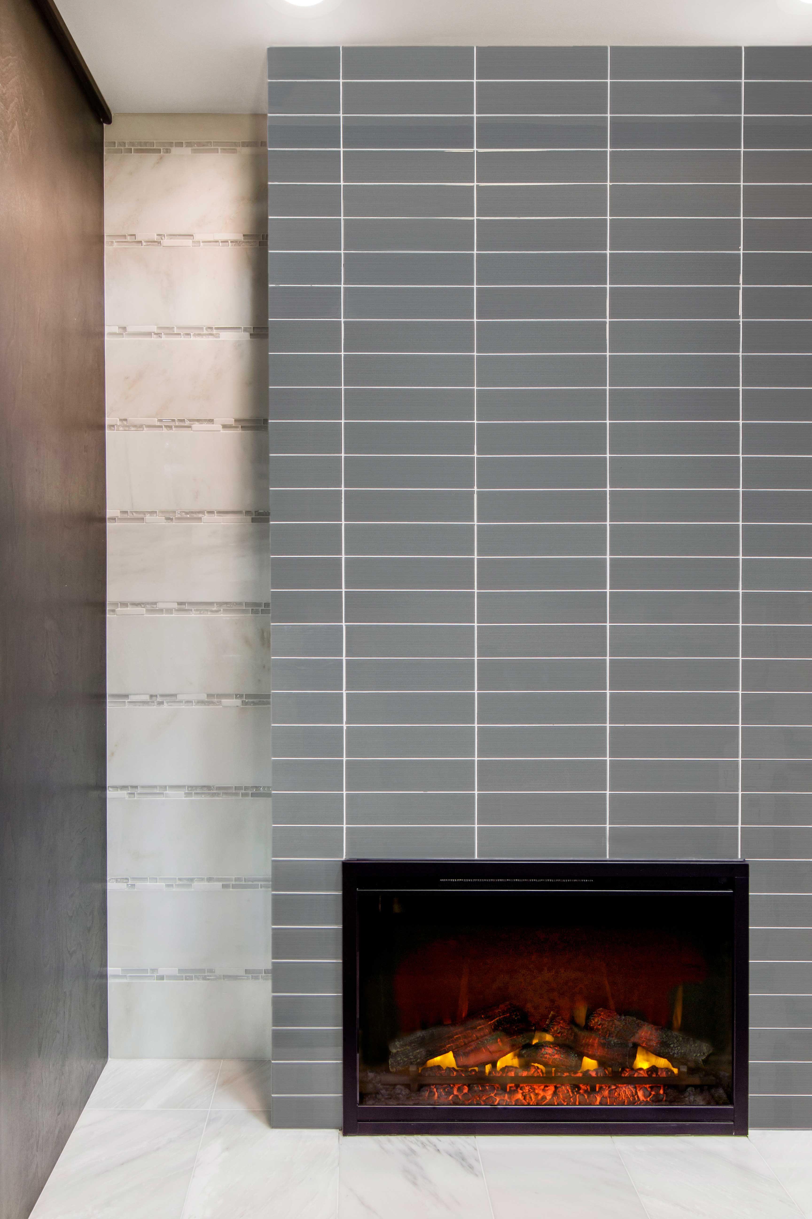 Transitional Or Modern Design Fireplace Tile Lasalle Glass Subway Tile Subway Tile Fireplace Fireplace Tile Tile Around Fireplace