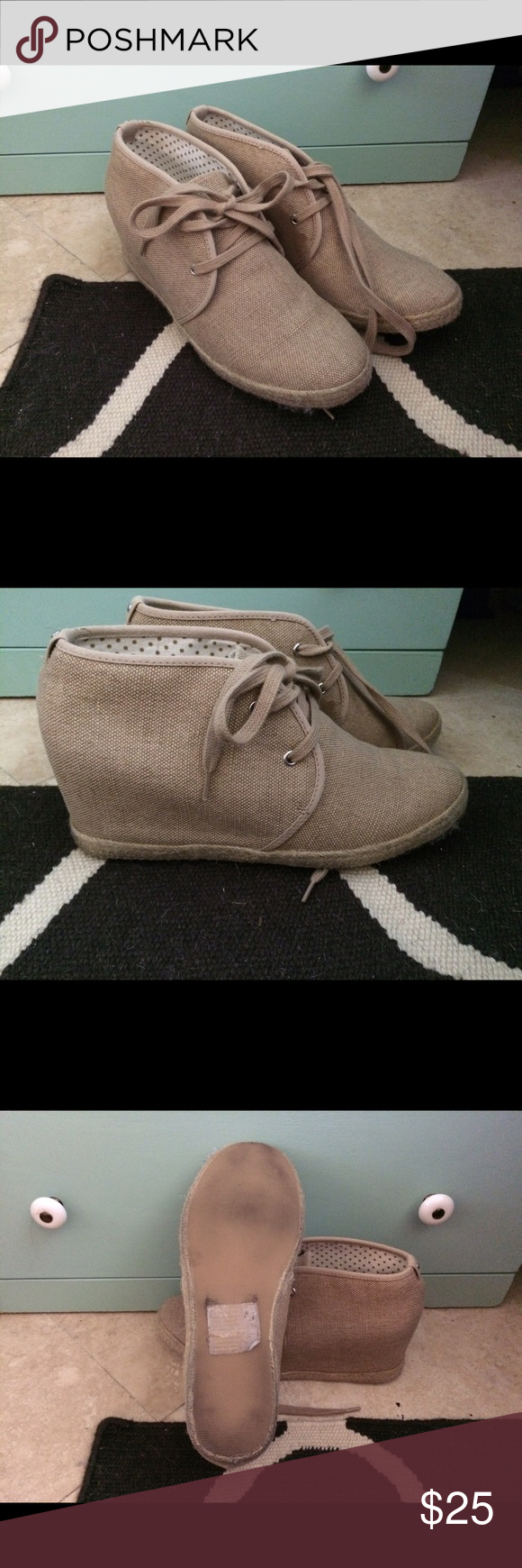 Mudd wedges size 9.5 Super cute lace up wedges! Only worn once or twice Mudd Shoes Wedges