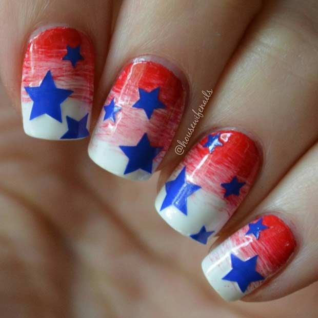 31 Patriotic Nail Ideas for the 4th of July | Pinterest | Star nail ...