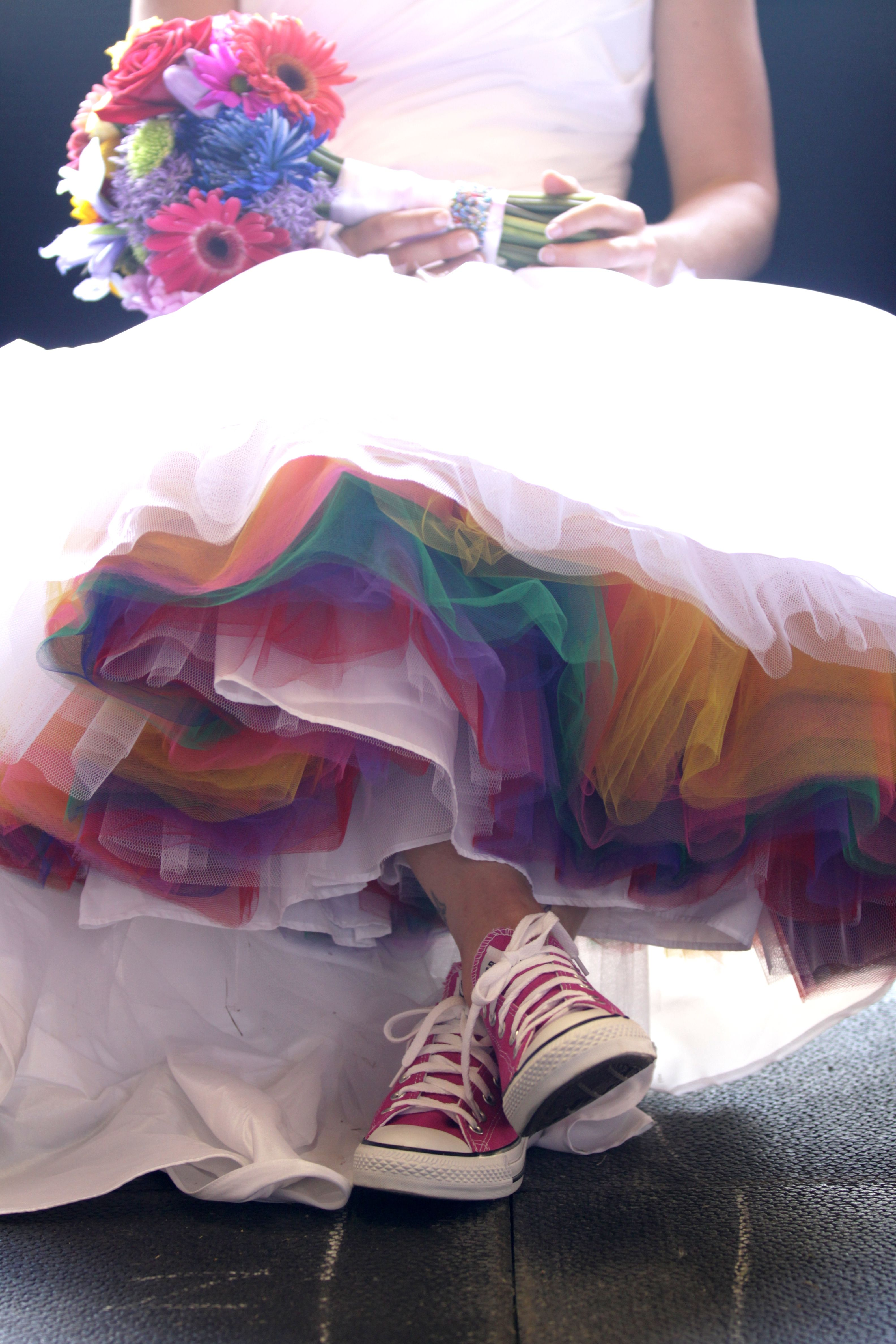 Pin By Sarah J Belcher On Wedding Ideas Rainbow Wedding Dress Rainbow Wedding Tulle Wedding Dress