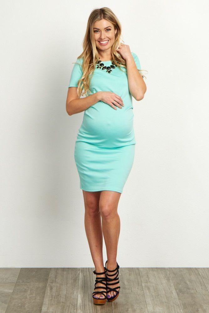 Basic Zwangerschapskleding.Mint Short Sleeve Fitted Maternity Dress Kinderen En Ouderschap