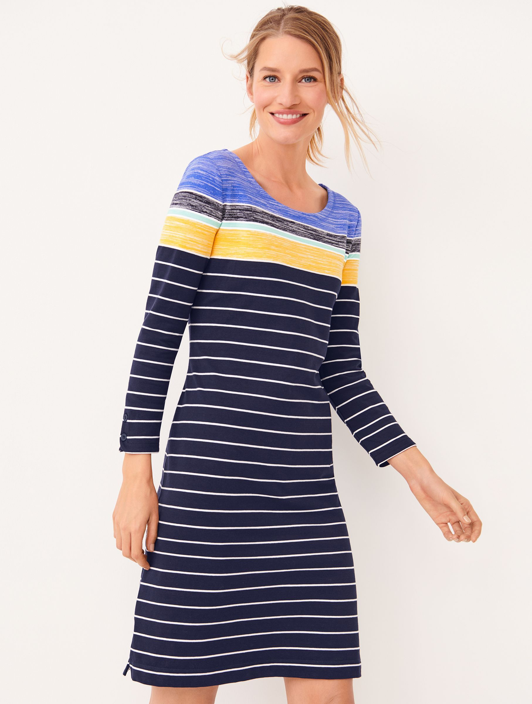 Pretty And Classic A Move With You Dress With The Right Amount Of Stretch Flattering Lines And Three Quar Striped Knit Dress Modest Summer Dresses Knit Dress [ 2400 x 1814 Pixel ]