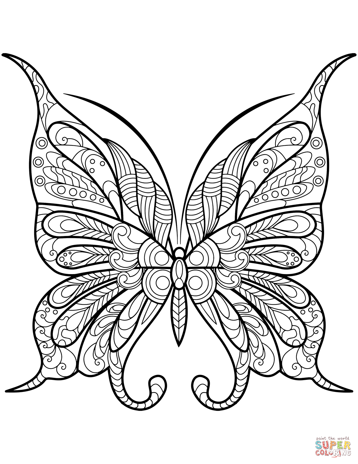 Zentangle Butterfly Super Coloring Butterfly Coloring Page