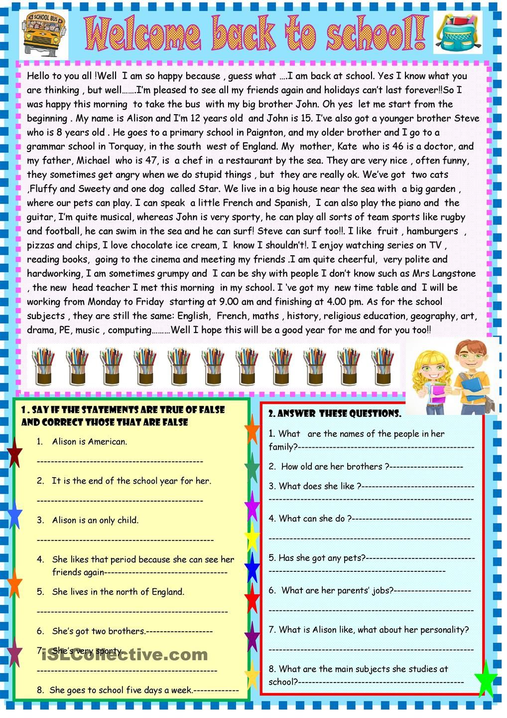 welcome back to school: reading   Reading comprehension worksheets [ 1440 x 1018 Pixel ]