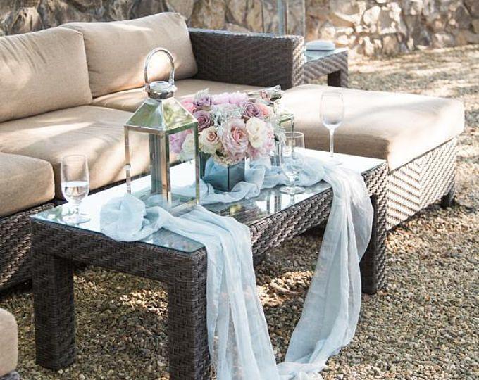 gray silk runner | gray silk chiffon table runner | wedding table runner | sheer table runner | silk runner | grey wedding tablecloth