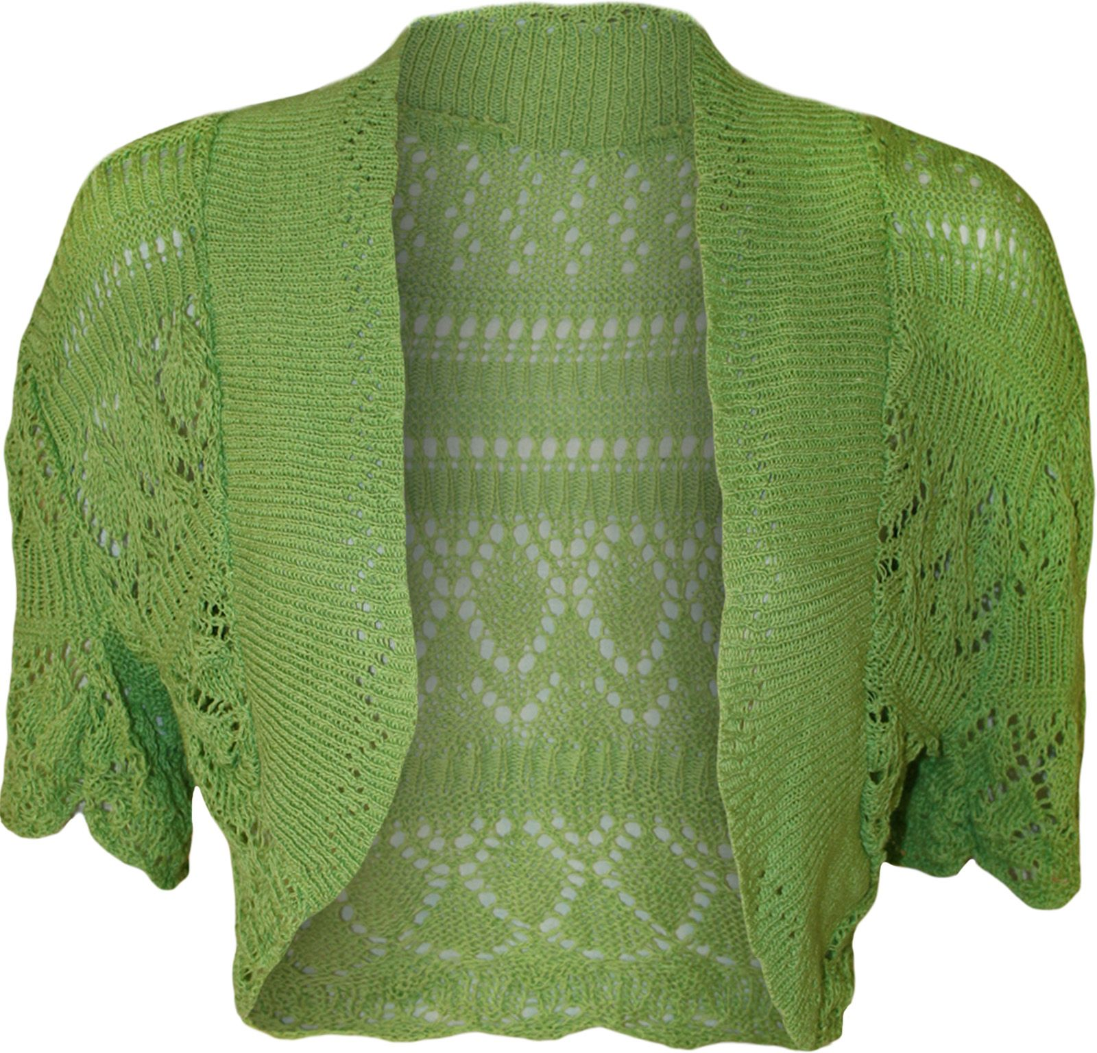 New Womens Crochet Knitted Short Sleeve Ladies Bolero Cardigan Top ...