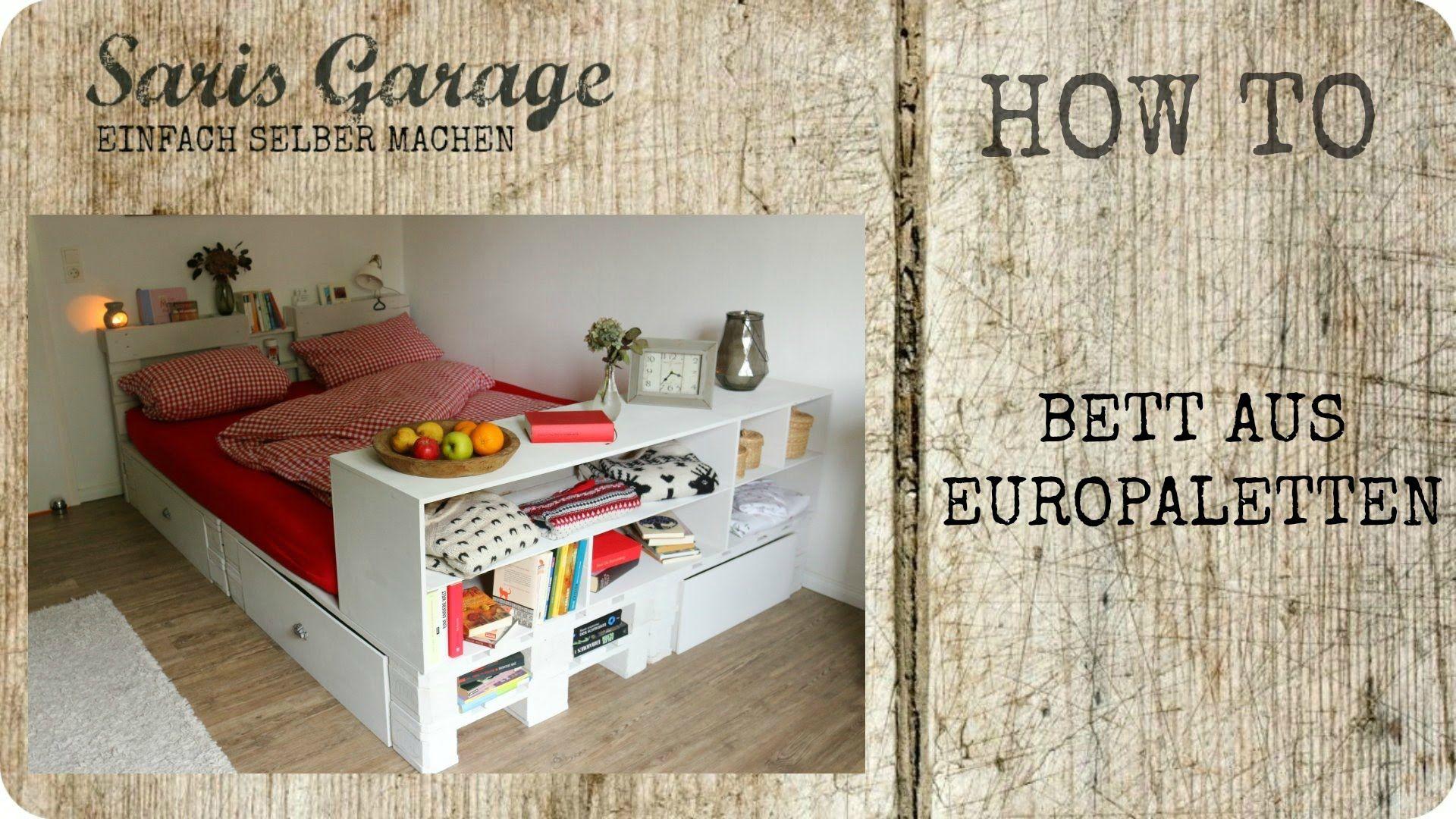 ↓ Bett aus Europaletten | Palettenmöbel | Möbel aus Paletten | Bett ...