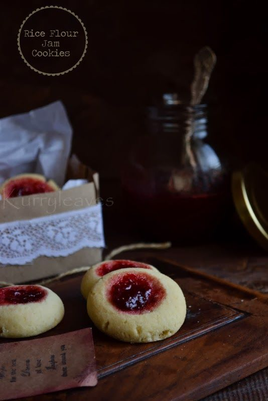 Rice flour jam cookies | Thumbprint cookies | Gluten free recipe