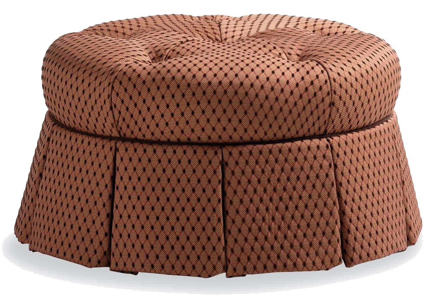 Fine Upholstered Accents Round Ottoman With Pleated Skirt