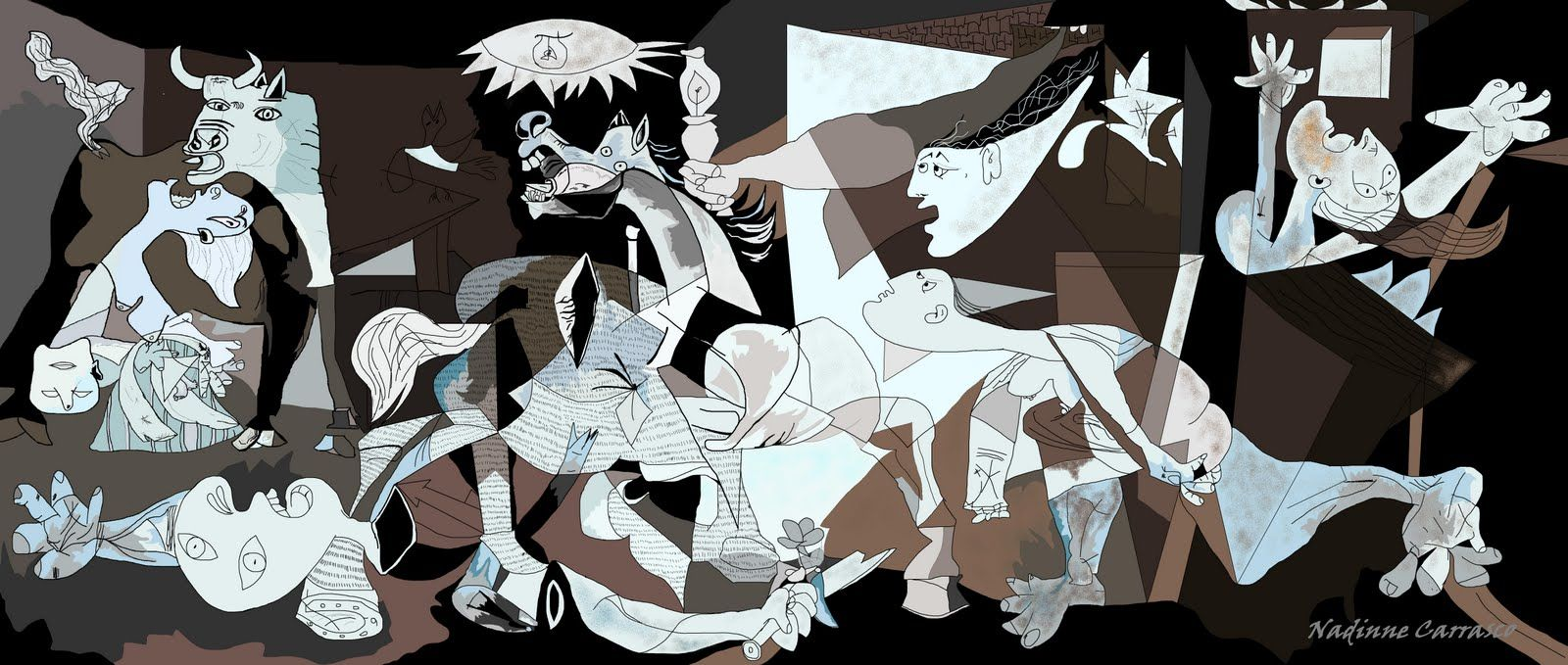 A comparison of the paintings guernica and les demoiselles by picasso