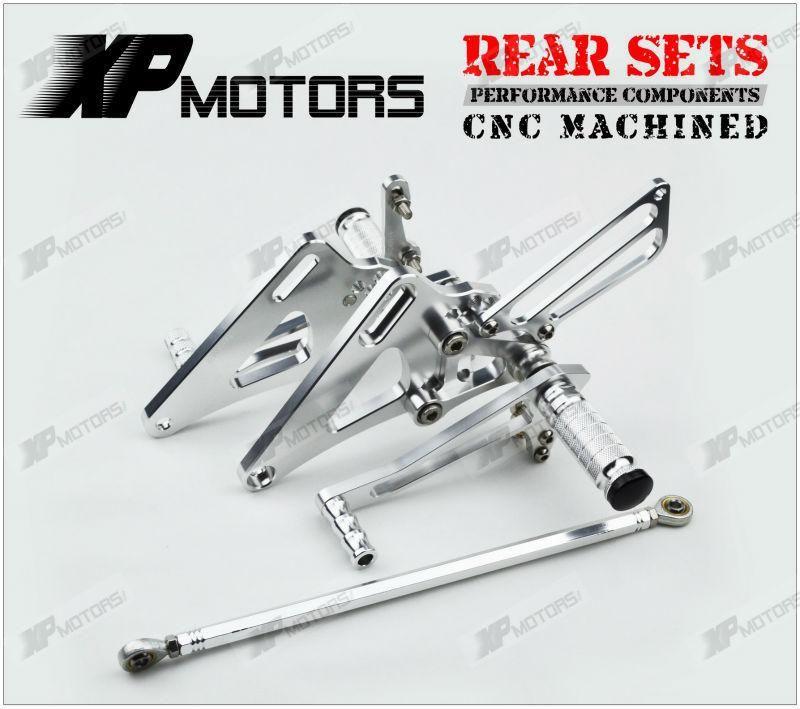 Silver Motorcycle Parts CNC Fully Adjustable Billet Rear Sets Rearsets Fit For Aprilia RSV 1000 R FACTORY 2004 2005 2006 2007