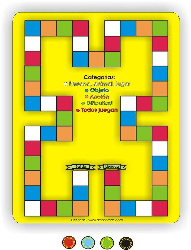 pictionari (tablero) para imprimir | juegos de mesa | pinterest