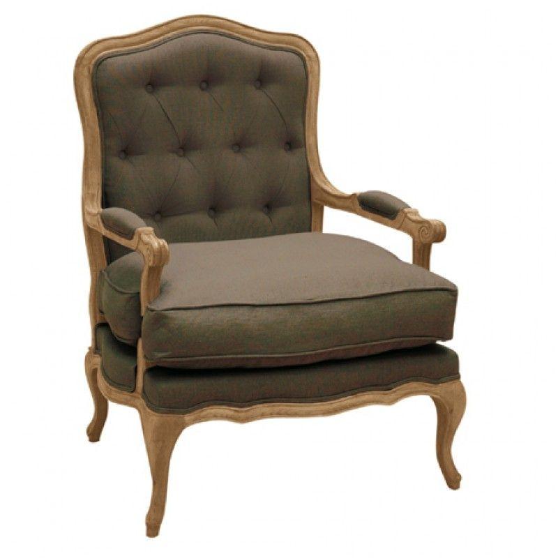 Fauteuil Bergere Capitonne En Chene Et Lin Marron Glace Louise Tv Room Chair Wood Colors