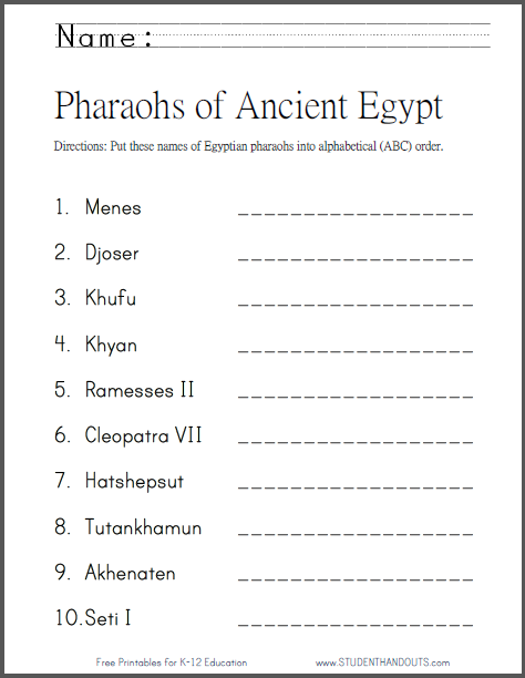 Pharaohs of Ancient Egypt in ABC Order - Free to print (PDF