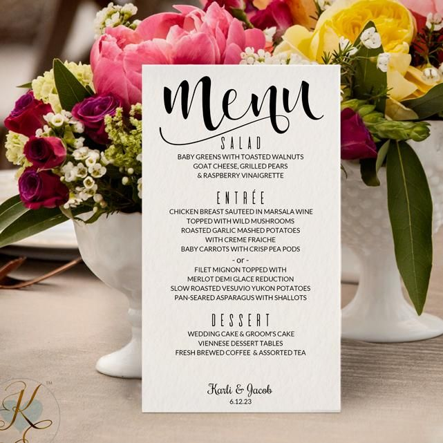 Printable Menu Card Instantly Editable Text Glitz Calligraphy Black 4 X 7 Microsoft Word Format Cards And