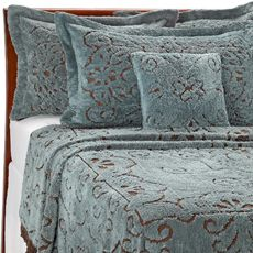 Lamont Home Jessica Chenille Bedspread Slate Chocolate Bed