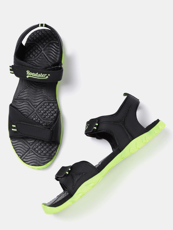 615c0fa6d3cf7 Roadster Men Black & Green Sports Sandals #Black#Green#Synthetic#Sports