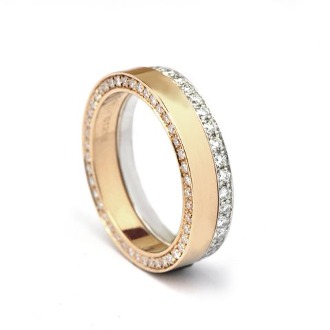 Swedish Set Rose Gold White Gold Rings FAT Wedding Rings