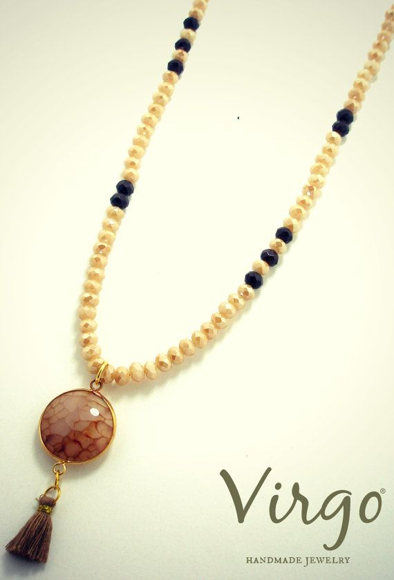 Handmade Crystal Bead with Agate Necklace.  Size: approx. 100cm  We can resize for you, all of our jewelries, so feel free to ask!  Τhe necklace comes in a gift box!  Do you like this item? See more at: https://www.etsy.com/shop/VirgoHandmadeJewelry  Like us on Facebook:  https://www.facebook.com/VirgoHandmadeJewelry  or   follow us on Pinterest: www.pinterest.com/VirgoJewelry   Thanks for stopping by - Virginia