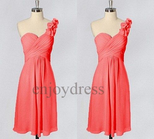 Custom Watermelone Red One Shoulder Strap Short Bridesmaid Dresses ...