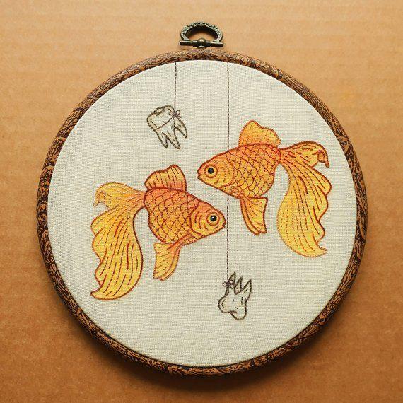 PDF pattern - Goldfish Hand Embroidery Pattern (PDF modern hand embroidery pattern - teeth details)