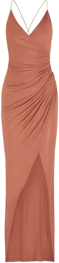 Balmain Embellished Gathered Stretch-Jersey Maxi Dress