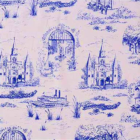 Traditional Home Blue Toile Fabric Home Decor Toile