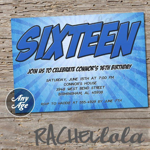 Age Blue Birthday Party Invitation Sweet Sixteen For Boys Teen Boy 16th 15th 13th 12th Printa