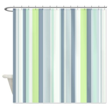 Lovely Pastel Blues And Green Striped Shower Curtain