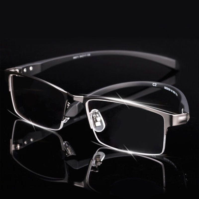 b9c2f04815 Ultra-Lightweighted Men Titanium Alloy Eyeglasses Frame for Men Eyewear  Flexible Temples Legs IP Electroplating Alloy Material