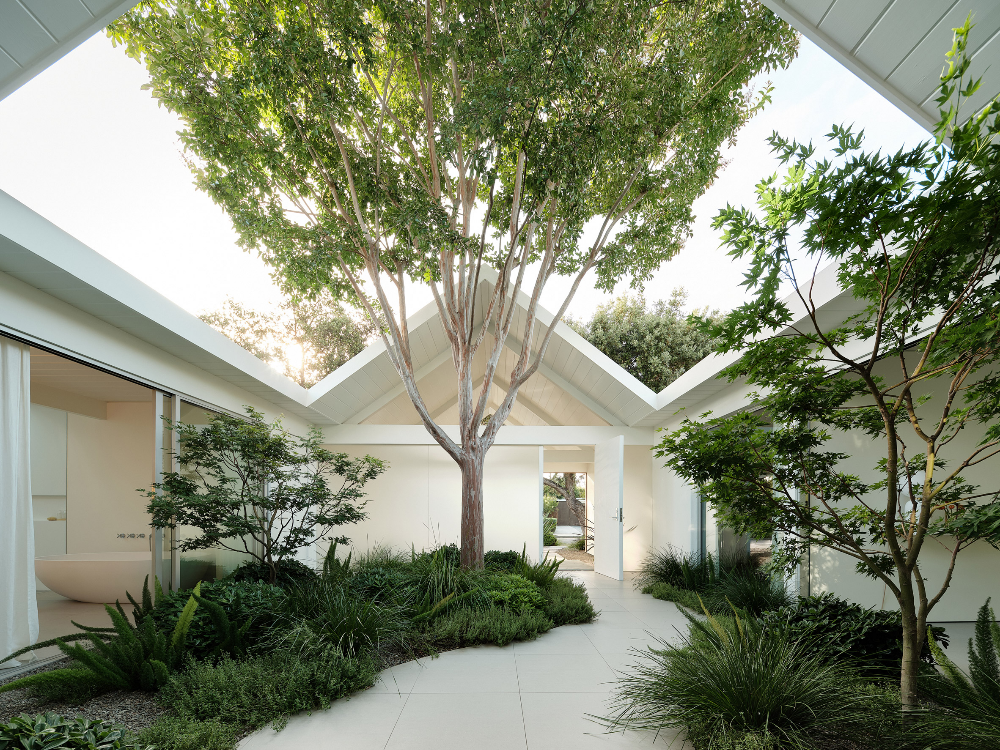 White Twin Gable House By Ryan Leidner Architecture Is A Remodeled Eichler In 2020 Gable House Eichler Homes Landscape Design