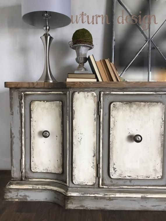 Sold!! Sold!! Rustic painted buffet, white and grey tv cabinet